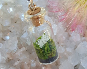 Reiki infused one of a kind glass vial terrarium pendant with a tiny druzy quartz crystal cluster, black tourmaline and preserved moss