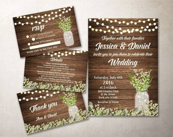 Rustic Wedding Invitation Kit Printable, Barn Wedding Invitation, Baby Breath Mason Jar Wedding Invite, Printable Wedding Invitation Suite