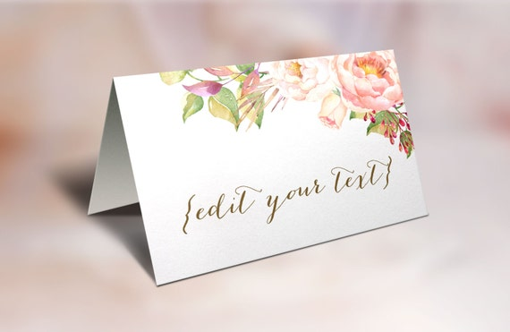 Printable place cards wedding place cards floral place cards for Design table name cards