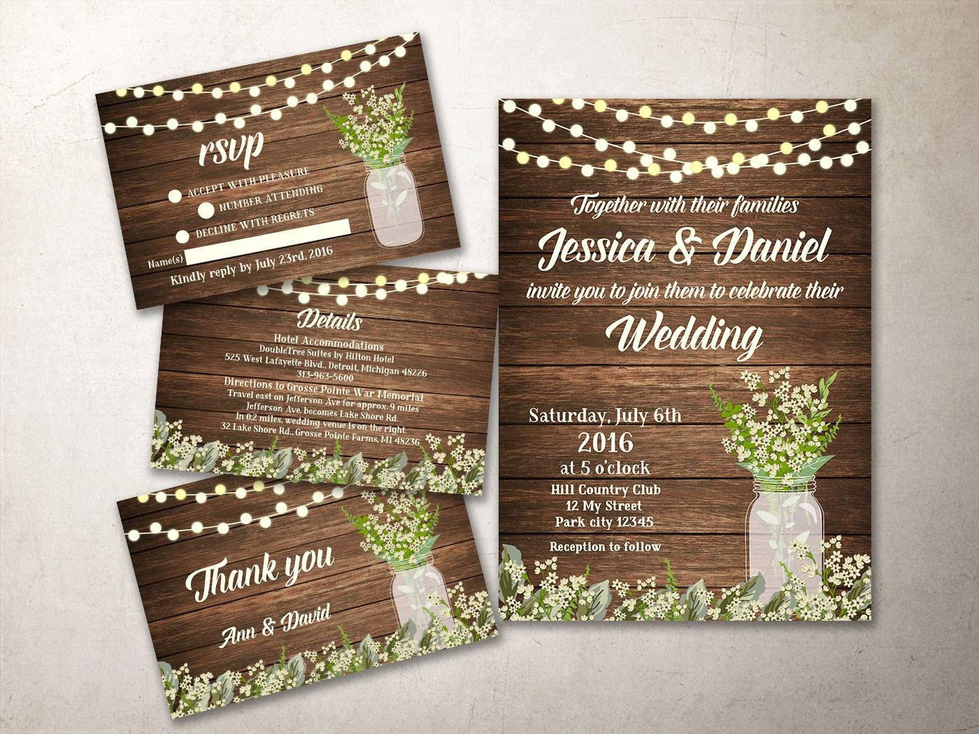 Country Rustic Wedding Invitations: Rustic Wedding Invitation Kit Printable Barn Wedding