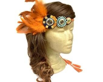 Orange Native American Headdress, Feather Fascinator Headband, Boho Hippie Feather Headband, Tribal Headdress, Indian Headband, Costume
