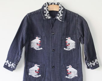 Vintage Early 1970s American Indian Boy Girl Jacket Shirt Embroidery