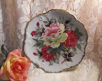 Vintage Gold Rimmed Rose Plate - Made in Japan
