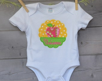 Personalized Monogram Apple Patch Applique Shirt or Onesie Girl or Boy