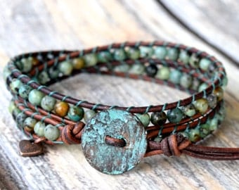 African Turquoise Wrap Bracelet, Wrap Bracelet, Turquoise Wrap, Earthy Wrap Bracelet, Boho Wrap Bracelet, Bracelet Wrap, Leather Wrap