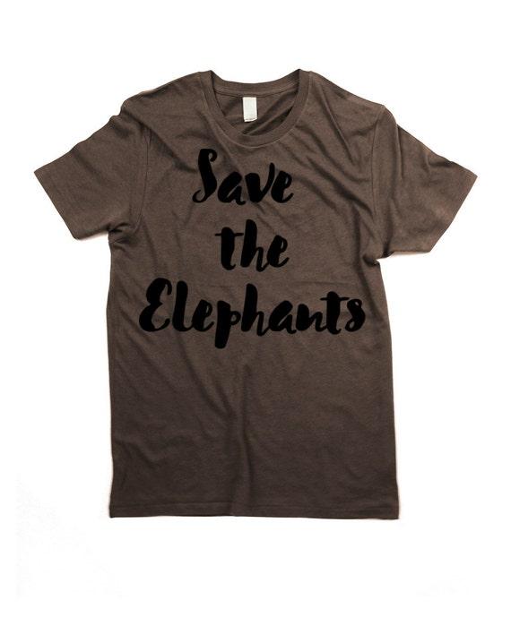 Elephants T-shirt - Organic Cotton Mens Save the elephants Shirt - Small, Medium, Large, XL, 2XL
