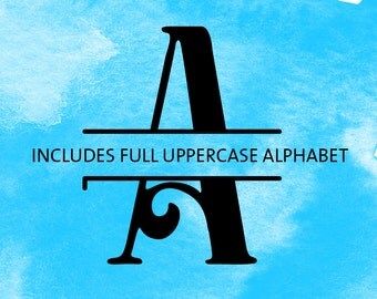 SVG Monogram Font - Split Files for Silhouette or Cricut - Full Uppercase Alphabet Letters - for Vinyl HTV Paper Decor Scrapbooking