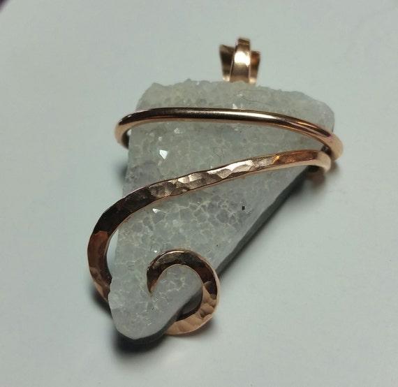 Quartz Crystal Pendant | Quartz Druzy Pendant | 14kt Rose Gold Filled Pendant | Raw Crystal Pendant | Raw Stone Necklace | Geode Pendant