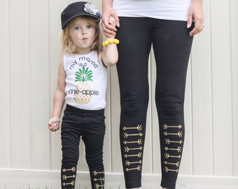 Arrow Leggings Hand Painted Childrens Leggings Custom Toddler Leggings Womens Leggings
