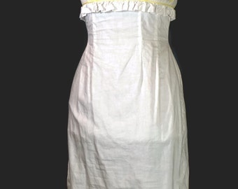 1950s Cotton Dress. Vintage Helen Whiting White Wiggle Slim Day Dress Size S