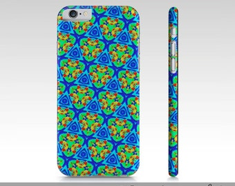 Funky Cool iPhone 6 Cases, Blue Green Funky iPhone 6 Cases, Artsy Blue Green Phone Case, Artist Designed Custom Printed Premium Phone Cases