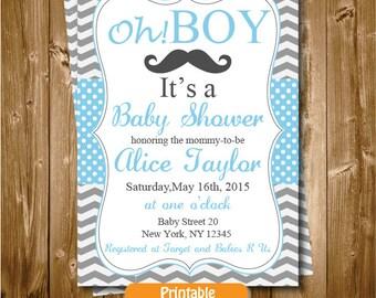 Baby Shower Invitation, Little Man Printable Baby Shower Mustache Invitation, Mustache Man Blue and Gray Baby Shower