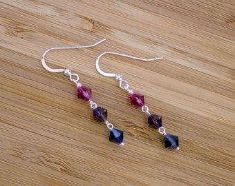 Swarovski earrings, Makeforgood, silver earrings, swarovski crystal, sterling silver earrings, rainbow earrings, swarovski, purple earrings