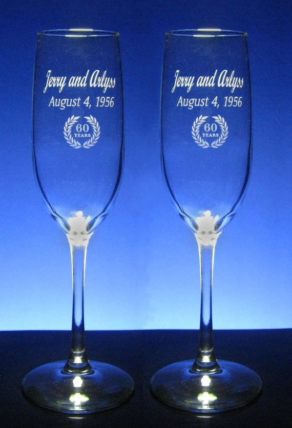 60th anniversary champagne toasting flutes sixtieth