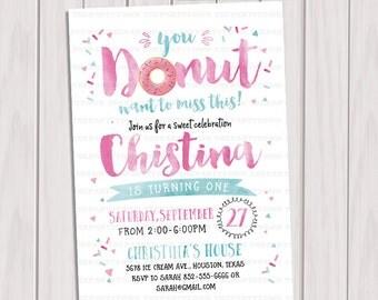 Donut birthday invitation, donut doughnut party invitation, girl birthday invitation, girl first birthday invitation, printable invite