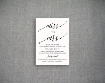 Miss to Mrs Bridal Shower Invitation, Wedding Shower Invitation