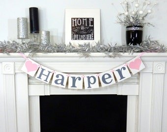 Custom Name Banner / Baby Shower Decoration / Kids Room Decor / Child's Name / Personalized Name Wall Art / Nursery Sign /Pink, Grey/Gray