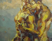 """Gay Art, Gay Painting,  Male Nude Fine Art Painting - """"Precious Moment"""""""