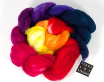 Hand Dyed Roving | Hand Painted Superwash Merino Wool Roving in Yellow, Orange, Magenta, Purple and Navy | For Gradient or Fractal Spinning