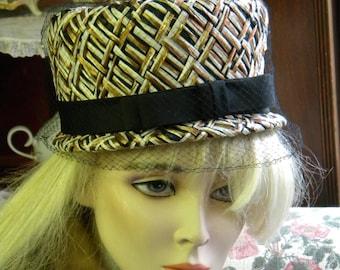 Woven Raffia Fall Hat, Black Netting & Grosgrain Bow ca. 1950's