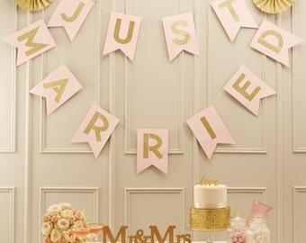 Just Married Bunting, Banner, Gold and Pink Just Married Banner, Glitter, Wedding Decorations, Wedding Banner and Bunting, Card,