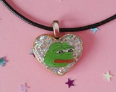 Pepe the Frog Holographic Necklace, Faux Leather Necklace, Sad Pepe Choker, Pepe Frog Pendant, Pepe Glitter Heart Choker