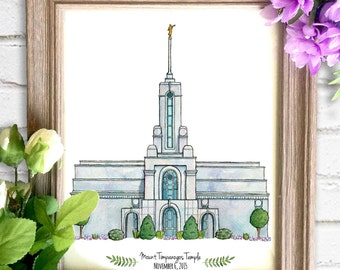 Mount Timpanogos Temple Watercolor Art Print- Personalized Gift, Wall Decor, Illustration, LDS Art, LDS Temple, Wedding Gift, Date