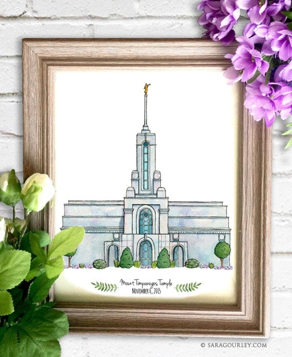 Mount Timpanogos Temple Watercolor Art Print Personalized