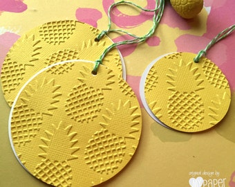 Yellow pineapple embossed gift tags. Gifts, favor tags. Birthday party, summer, celebrations, Hawaiian party, Luau. Birthday party decor.