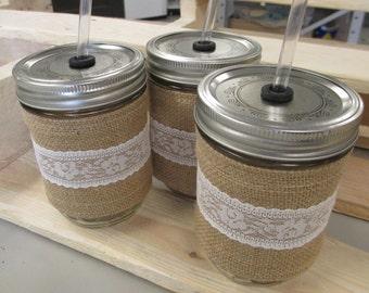 Burlap and Lace Mason Jar Cozy, Burlap Mason Jar Sleeve