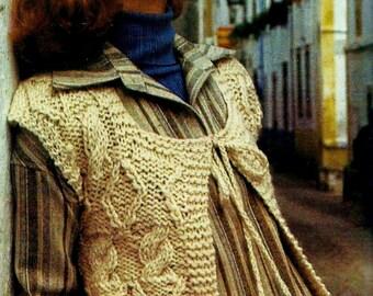 Cable Vest Vintage  Knitting Pattern Download