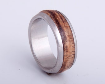 Koa Wood Ring // titanium wood ring // mens wedding band // alternative wedding rings