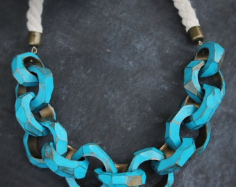 Big Chain Necklace statement necklace turquoise bib Necklace Large Link Necklace for her big bold chunky necklace Gift idea gift for her