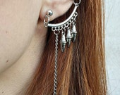 Boho Silver Tone Spikes and Chain Ear Cuff, Ethnic Single Earring, Gypsy Ear Jacket Gift for Every Budget