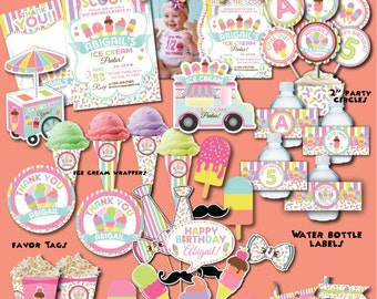 Ice Cream Birthday Party Package, Printable Ice Cream Party Decoration, Ice Cream First Birthday, Popsicle Party, Summer Ice Cream Birthday