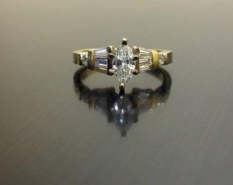 14K Yellow Gold Marquise Diamond Engagement Ring - 14K Gold Diamond Wedding Ring - Art Deco Marquise Diamond Ring - Yellow Gold Diamond Ring