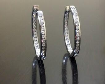 14K White Gold Diamond Earrings - 14K Gold Diamond Hoop Earrings - 14K White Gold Hoop Earrings - Diamond 14K Gold Earrings - Diamond Hoops