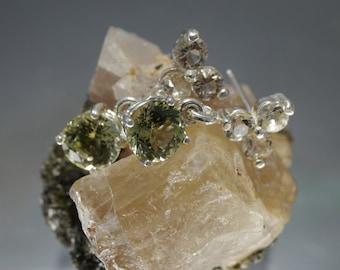 Green Apatite & Clear Oregon Sunstone drop dangle earrings