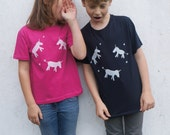 UNICORN organic hand printed tshirt in navy or pink  gift for kids