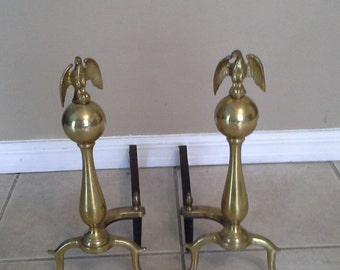 Vintage Brass and Cast Iron Eagle Andirons