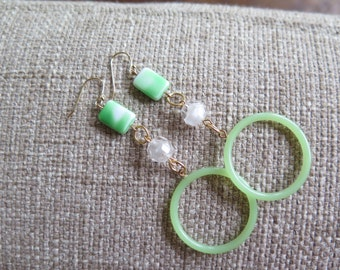 green earrings, hoop earrings, long earrings, mint earrings, light green earrings, green and white earrings, long hoop earrings, lightweight