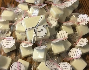 Party Favor Soaps, Bridal Shower, Favors, Baby Shower Favors, Thank you gifts, Homemade, White Rose, Bergamot, Oatmeal Cinnamon Soap, Shower