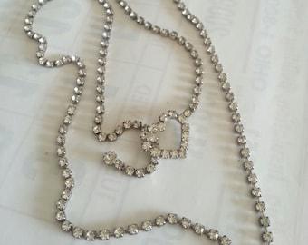 Vintage Rhinestone Heart Lariat Necklace
