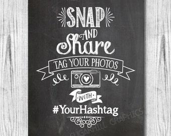 Chalkboard Wedding Sign, Printable Hashtag Wedding Sign, Custom Social Media Sign, Printable Wedding Sign, Hashtag Sign, Wedding Decor