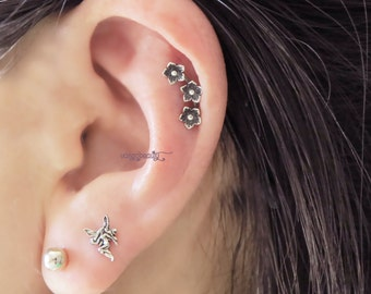 Gorgeous Pure Sterling Silver cartilage earring, cartilage stud flowers Choose your style -20 gauge