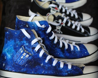 Personalized handpainted shoes, Tardis galaxy, Dalek, Doctor Who Fanart shoes, custom snekers