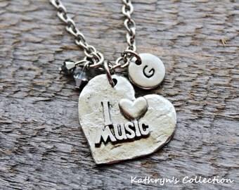 Music Necklace, Music Jewelry, I Love Music, Music teacher Gift, Musician Gift