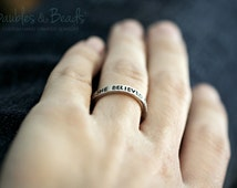 Personalized Ring - Custom Name Rings - Stacking Rings - Stacked Rings - Gift Under 25 - Silver Ring - Engraved Ring - Personalised Jewelry