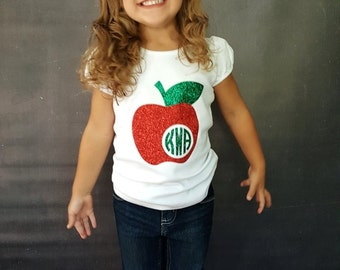 Apple Monogram Shirt, Back To School Shirt, Back To School Monogram, First Day of School Shirt, Monogram Apple Shirt, School Shirt