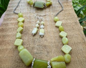 necklace, bracelet, and earring set of olive jade